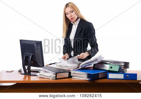 Woman businesswoman working isolated on white