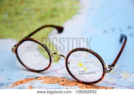 Glasses on a map - Bahamas