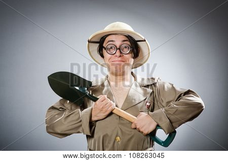 Funny safari traveller in travelling concept