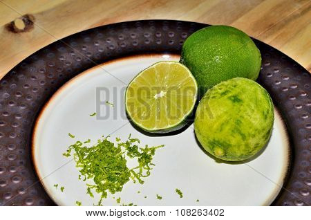 Lime citrus fruit with zest