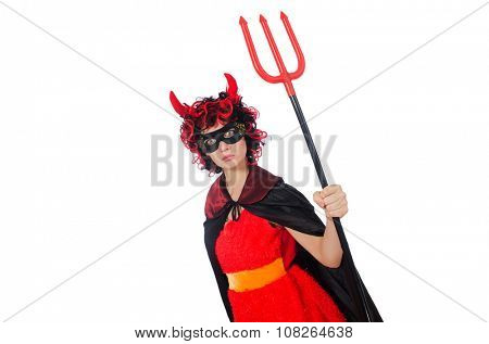 Woman devil in funny halloween concept