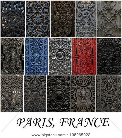 Collage of different decorative metal window in Paris.