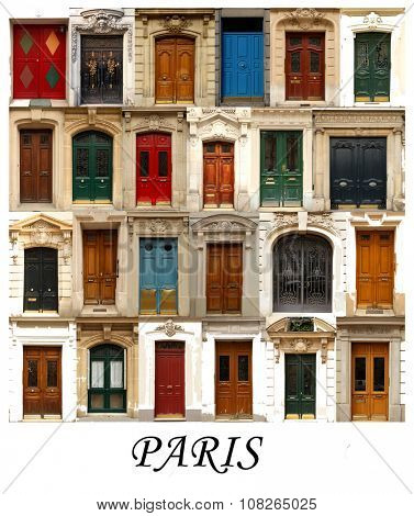 A collage of Parisian doors, presented in a white border with the city name Paris.