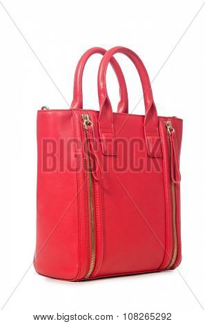 Red woman bag isolated on white