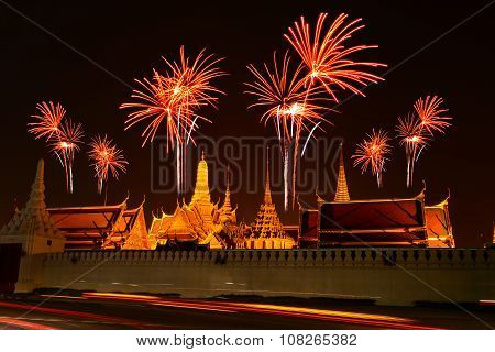 Firework Celebration At Wat Phrasrirattana Sasadaram The Temple Of The Emerald Buddha (wat Phra Kaeo