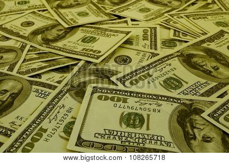 Mount Of Hundred Dollar Banknotes Background Texture Warm Filtered