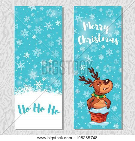 Merry Christmas design vertical background set with cute cartoon deer