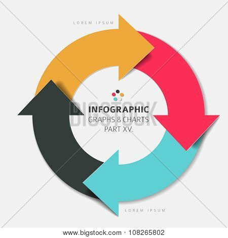 Vector flat design infographic elements ( cycle circle with arrows) - 15. part of my infographic bundle