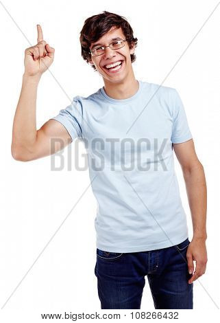 Young hispanic man wearing glasses, blue t-shirt and jeans showing up with his index finger and smiling isolated on white background - presentation concept