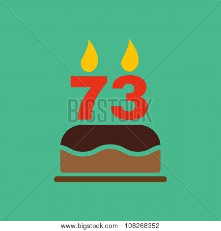The birthday cake with candles in the form of number 73 icon. Birthday symbol. Flat