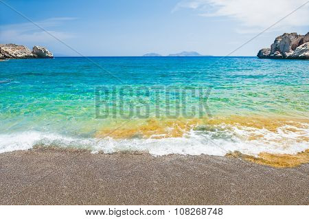 Beautiful Beach With Turquoise Water And Cliffs.