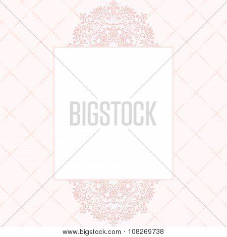Baby pink mandala card template background.