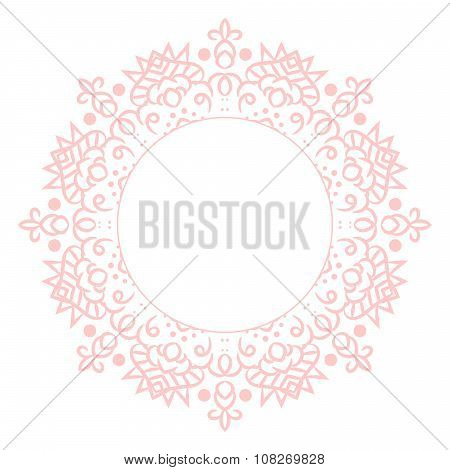 Baby pink mandala circle rosette card template background.