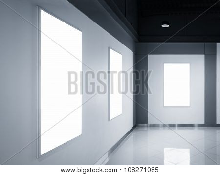 Blank Poster Banner Light Box Display On Wall Exhibition Room