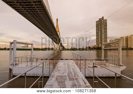 Bhumibol Bridge Bangkok ThailandThe bridge crosses the Chao Phraya River twice