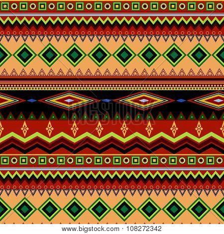 Tribal Ethnic Seamless Stripe Pattern On Orange Background