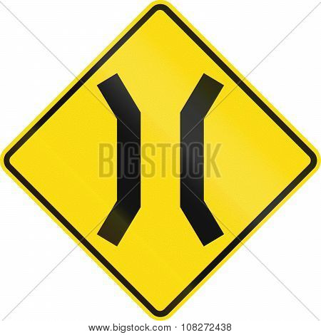 New Zealand Road Sign - Narrow Bridge Ahead