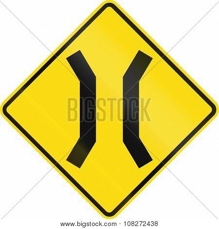 New Zealand Road Sign - Narrow Bridge Ahead
