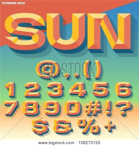 Vector 3D summer set of bold beveled numbers and symbols with shadow. Multicolored version.