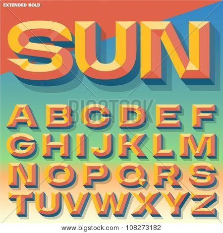 Vector 3D summer bold beveled alphabet with shadow. Multicolored version.