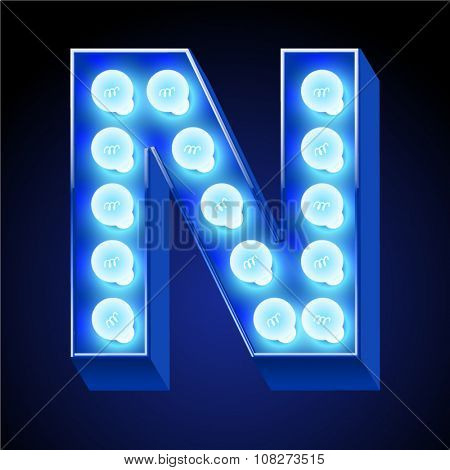 Vector festive alphabet with blue lamp. Letter N