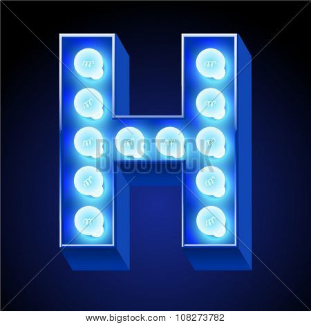 Vector festive alphabet with blue lamp. Letter H