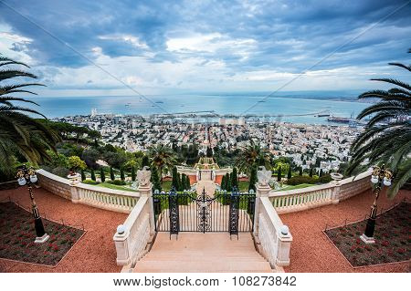 Panorama Of Haifa - Port And Bahai Garden, Israel