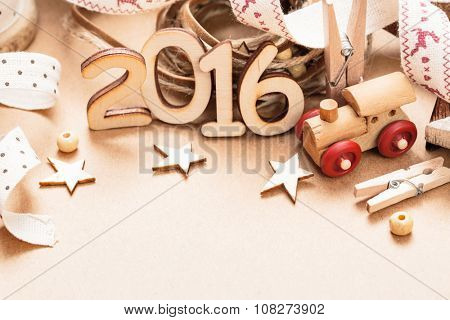 Christmas decoration Happy 2016 New Year close up