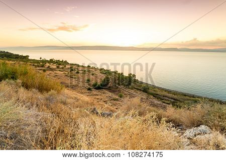 Panorama Of East Side Of The Galilee Sea
