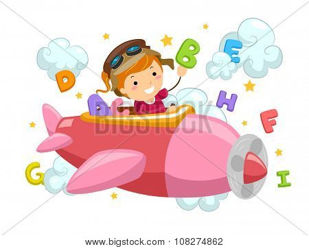 Stickman Illustration of a Little Girl Flying an Airplane Surrounded by Letters and Clouds