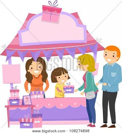 Illustration of a Little Girl in a Booth Handing Out Gifts to Moms