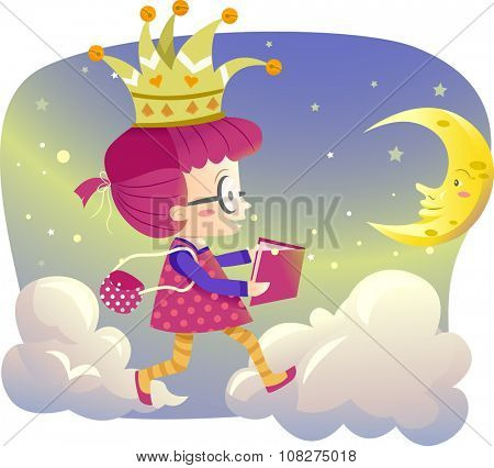 Illustration of a Little Girl Holding a Storybook Walking on Clouds