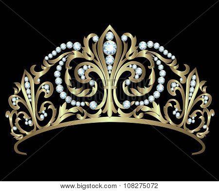 Gold diadem with diamonds