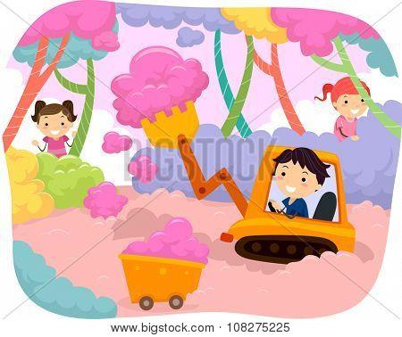 Stickman Illustration of Kids Harvesting Cotton Candies