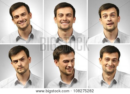 Collage of young man expressing different emotions