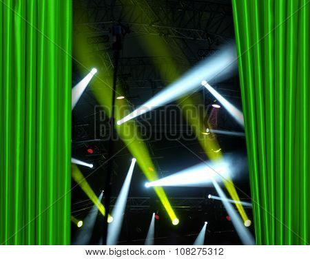 Green curtain on concert stage slightly open