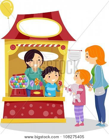 Stickman Illustration of a Little Girl Buying Candy from a Booth