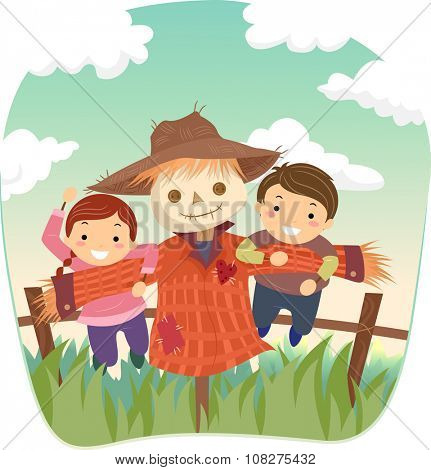 Stickman Illustration of Kids Playing with a Scarecrow