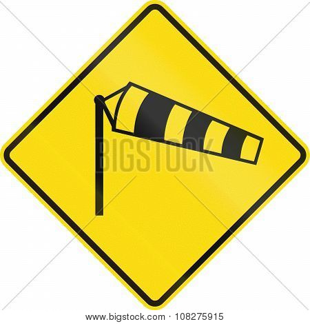 New Zealand Road Sign - Danger Of Powerful Wind Gusts