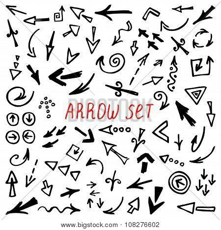 Arrows Doodle Set, hand drawn arrows set, sketched style