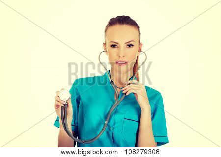 Beautiful smiling caucasian woman doctor with stethoscope.