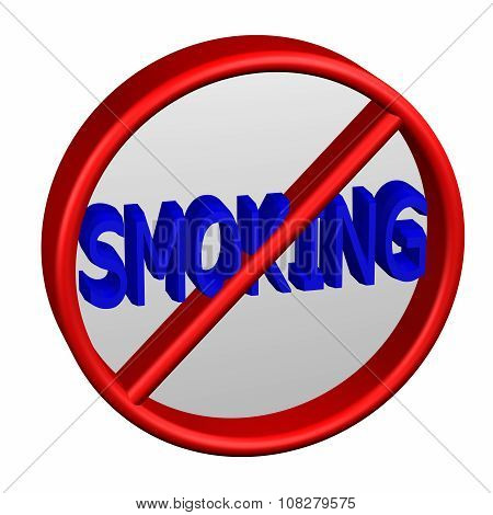 Prohibition Sign With Word Smoking