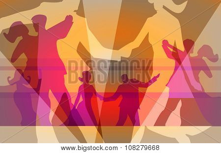 Ballroom dancing and dance party background
