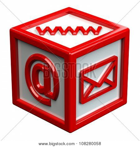 Block With Signs: Envelope, Www, E-mail