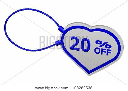 Heart Tag With Sign Discount 20 % Off