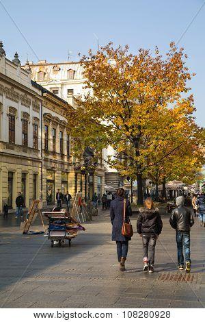 The old street Skadarlija in Belgrade, Serbia, people, yellow autumn trees