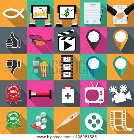 Technology Icons Vector Illustration In Flat