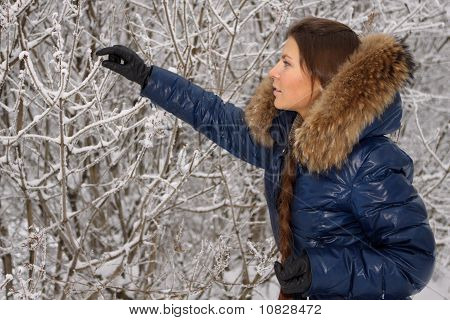 Young Woman In Winter Wood.