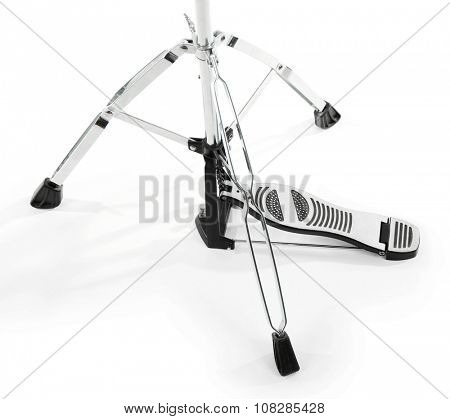 Pedal of golden drum isolated on white background, close up