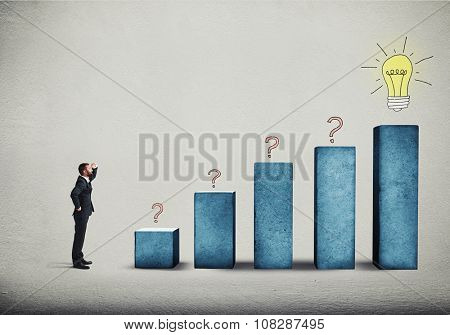 smiley businessman standing near blue concrete diagram and looking on top on drawed light bulb over grey background